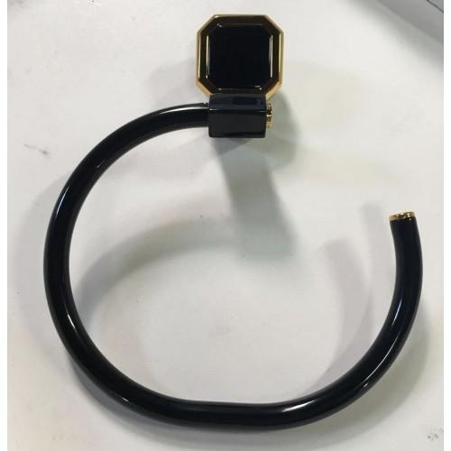 Porta toalha de rosto Argola - Linha Exclusiva - Atrium/Incepa - Cor Onix com Dourado