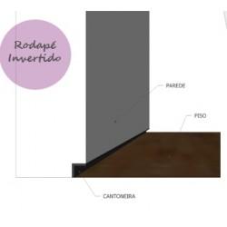 Rodapé Invertido - Alumínio - Pintura Eletrostática - Barra com 200cm - Preço do Metro Linear