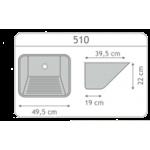 Tanque Inox 50x40x28,5cm  - Embutir  - Monobloco -  Strake